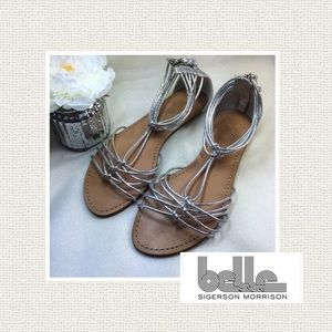 Belle by Sigerson Morrison Shoes - Very cute silver metallic gladiator sandals, new