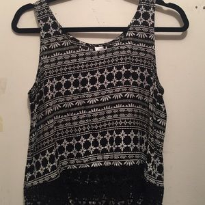 H&m black and white lace tank top