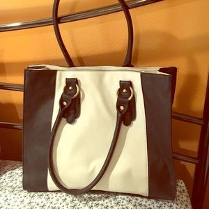 Black and white faux leather tote.