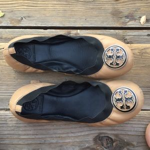 Tory Burch Shoes - Tory Burch cream flats with a black outline