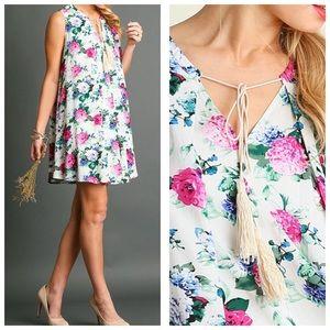 Floral Print Tassel Dress L
