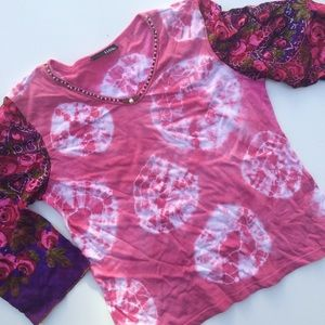 Rose Tie Dye Tee with Silk Print 3/4 Sleeves Sz S