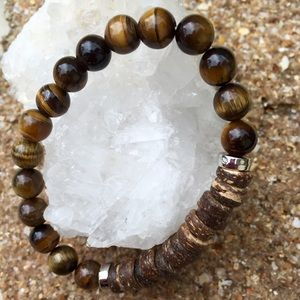 Boho Motivations Jewelry - Coconut Shell & Tiger Eye Stone Bracelet