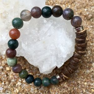Boho Motivations Jewelry - Coconut Shell & Indian Agate Stone Bracelet