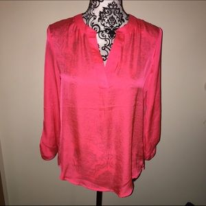 NWT silky vneck hot pink blouse small
