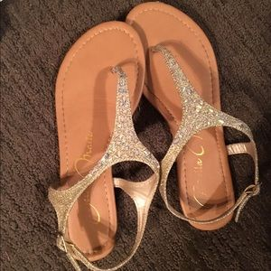 c1b7f04d0 Bella Masie Shoes - Worn once at wedding. Gold stone thong flip flop
