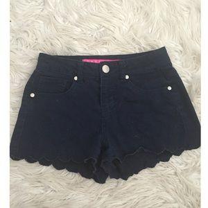 Tinseltown Pants - Navy Scalloped Bottom Shorts