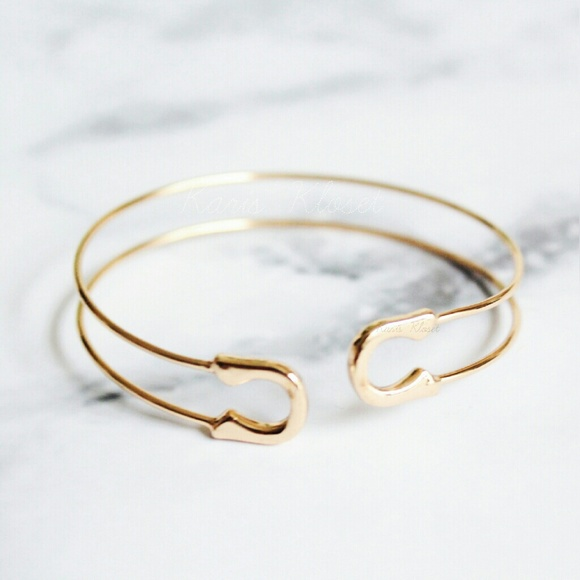 Karis Kloset Jewelry Gold Delicate Safety Pin Bracelet Cuff