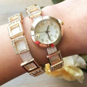 Gold and White Pave Layered Watch