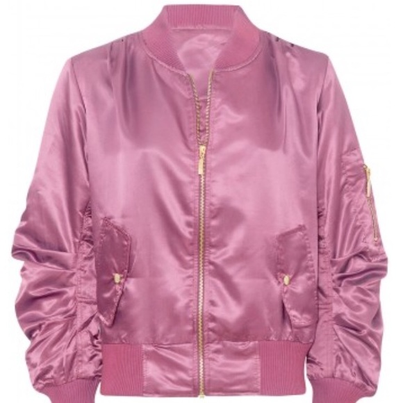 NYE Flash Sale NWT Pink Satin Bomber Jacket from Jodianne's closet ...