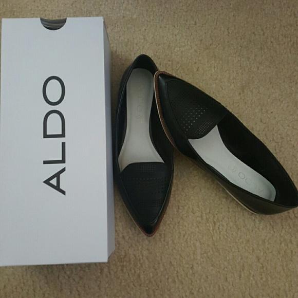 Aldo Hankes Black Pointed Flat Shoes