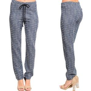 Blue & White Tweed Slim Leg Joggers Skinny Pants