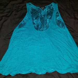 Babe lace back tank top turquoise sexy