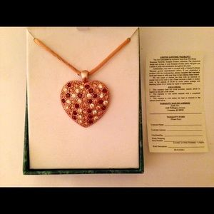 Suzanne Somers Goldtone Heart Necklace Peach Cord