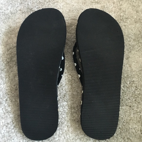 58 Off Ecsa Shoes - Flip Flops, Black Wwhite Polka Dot -2939