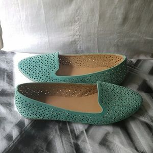 Turquoise Faux Suede Slip Ons