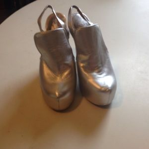 Metallic silver leather wedges
