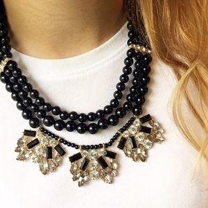 New York & Company Jewelry - NWT NY&Co. Black Bead & Crystal Statement Necklace