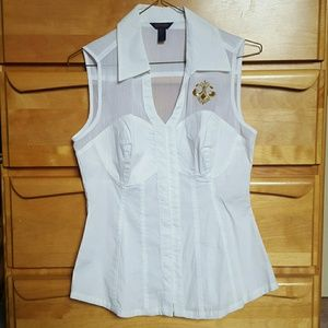 Dereon Tops - White Collared Corset Blouse