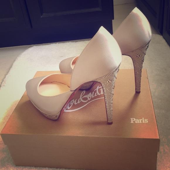 buy popular f5216 d38b9 Christian Louboutin satin pumps with crystal heels