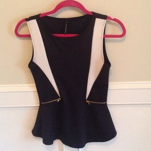 B Jewel Tops - Black and white peplum with zipper accents