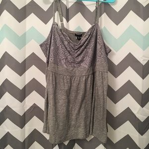 NWT Torrid Gray Lace Babydoll Tank Top Size 1X
