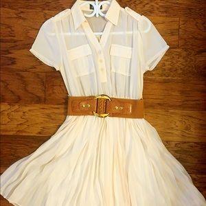 Maude cream pleated shirt dress
