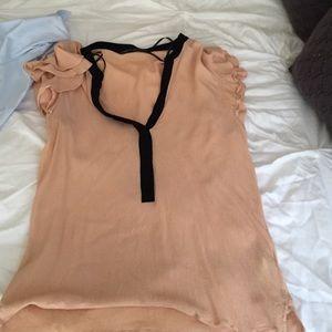 Zara short sleeve top in peach with black detail