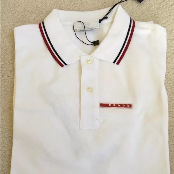 a1def26f307480 Prada Shirts   Mens Bianco White Stripe Polo Shirt Xl   Poshmark