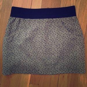 H&M miniskirt size 10.  Beige metallic black dots.