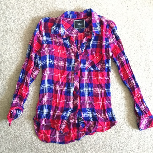 Rails Tops Flannel Shirt Red Blue Plaid Size Xs Poshmark