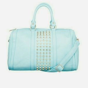 Pink Cosmo Handbags - Pink Cosmo Ice Blue Studded Barrel Handbag