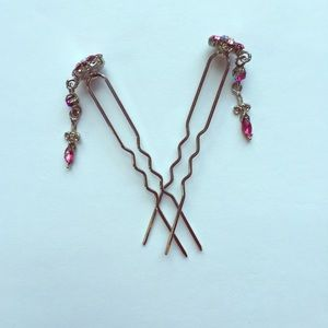 Accessories - Pair of Pink Multi-stone Hair Pins