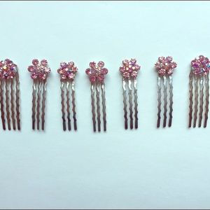 Accessories - Set of 7 Pink Multi-stone Hair Pins