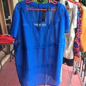 Top, Cobalt Blue Sheer