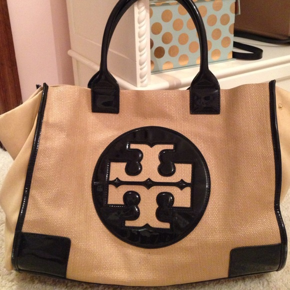 388105d2a5e Tory Burch Black and Tan tote bag great for pool. M 5740b964bf6df56df903a42b