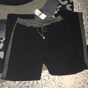 Danskin Pants - Black fleece pants w/ gray stripe