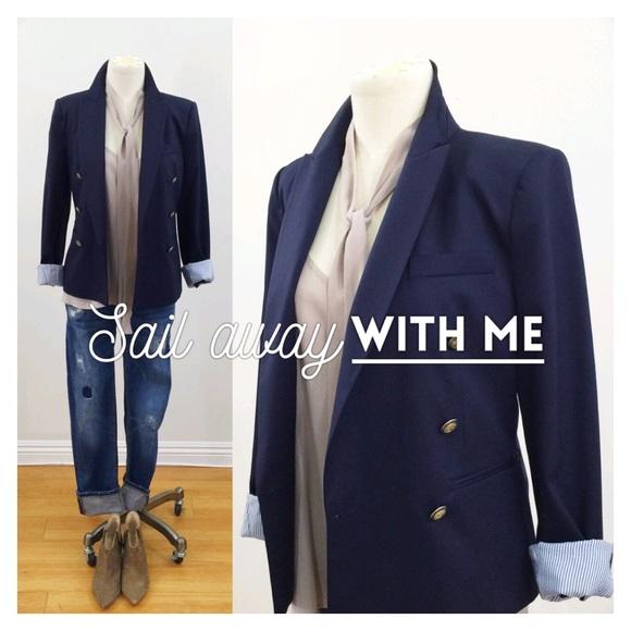 Buttons Navy Blazer Jackets Lining Coats Gold amp; Zara Wstriped qf8SRp