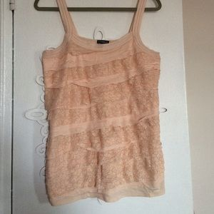 Lace front ruffled tank