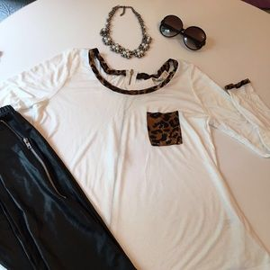 White top with leopard print