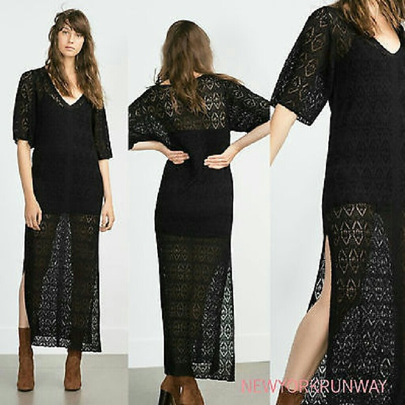 ac755096030 Black open knit maxi dress -- Zara medium