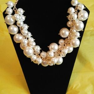SALE T&J Luxe White Pearl Cluster Necklace