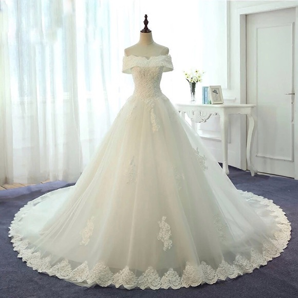 Classic Off Shoulder Wedding Gown