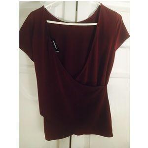 Express open-back burgundy top
