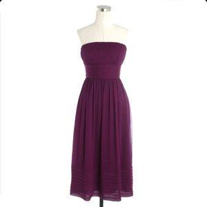 J. Crew Silk Chiffon Dress Juliet  in Spiced Wine