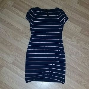 Dress - Navy and White Striped