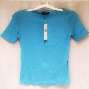 Lauren Ralph Lauren Tops - Lauren Ralph Lauren Blue Short Sleeve Petite Top