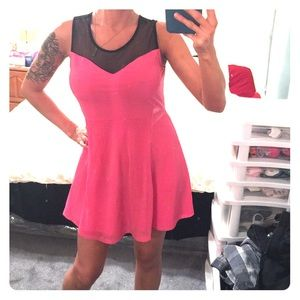 Super cute pink and black mesh H&M dress. Size 8