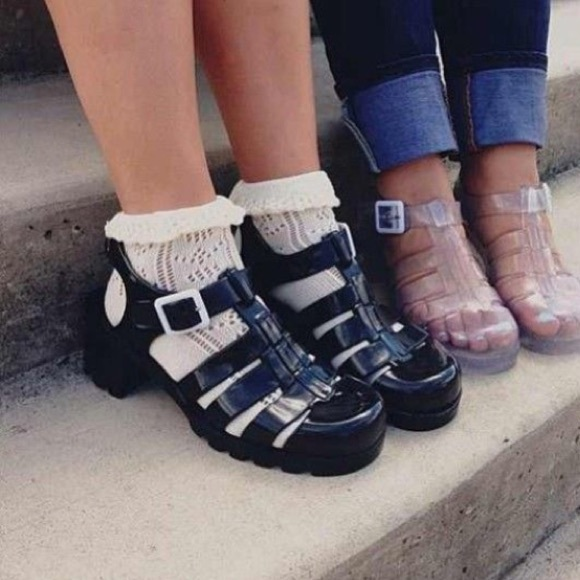 78 Off American Apparel Shoes Black Jelly Sandals Heel