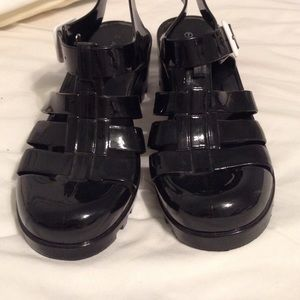 a45d54bffafeeb American Apparel Shoes - Black Jelly Sandals Heel Plastic 90s Chunky Shiny